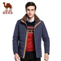 骆驼男装中长款外套   冬季双层领宽松纯色休闲棉衣男士棉服