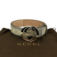 Gucci灰色印花双G头腰带 142930