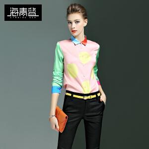 海青蓝2017春季新款时尚印花衬衣长袖撞色欧美潮流个性衬衫女6469