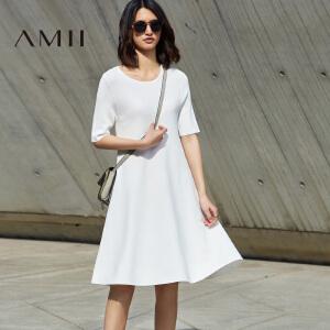 【预售】Amii2017春女纯色针织中袖宽松A字大码连衣裙11741304