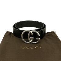 Gucci黑色光滑皮银色双G腰带 259982