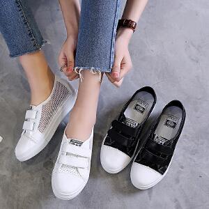 2017春夏新款韩版透气网面休闲鞋女运动鞋女学生板鞋平底单鞋魔术贴跑步鞋ZR-N1