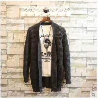 秋装韩版时尚毛衣线衫潮外套毛线青年中长款针织开衫男士