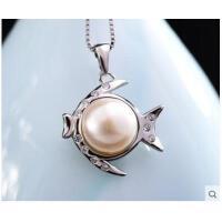 潮流个性时尚可爱挂坠简单大方天然珍珠925银饰鱼水晶项链女吊坠