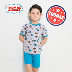 [满200减100]托马斯童装正版授权男童夏装时尚卡通满印短袖短裤套装