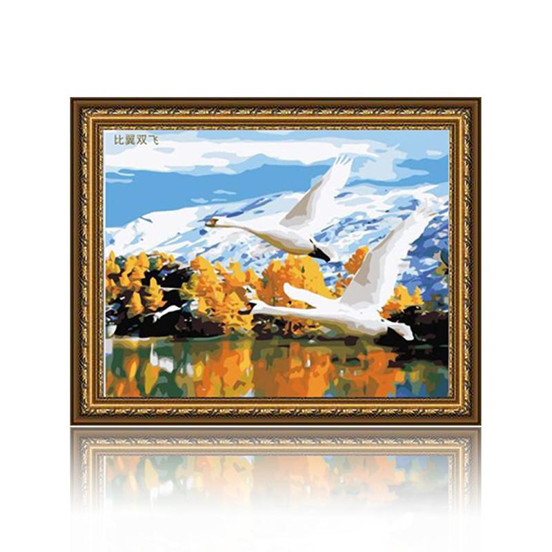 舞动色彩 比翼双飞 diy数字油画风景彩绘装饰画 w0224
