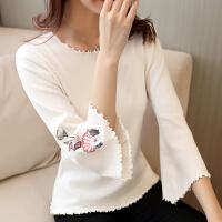 潮韩版秋季刺绣毛边套头喇叭袖针织衫七分袖圆领上装女装