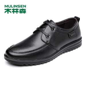 木林森男鞋   春夏新品商务休闲皮鞋系带鞋男士单鞋子21611340