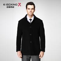 劲霸男士商务羊毛呢外套秋冬休闲中长款修身毛呢大衣|FFWY3389