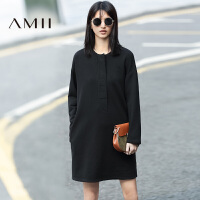【AMII超级大牌日】2016冬女新纯色几何贴布抓绒厚宽松连衣裙11683972