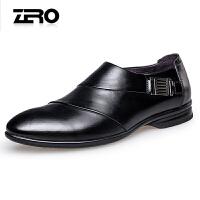 Zero零度男鞋春季新款尖头套脚时尚商务正装皮鞋英伦小皮鞋婚鞋A71002