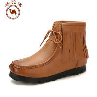 骆驼牌女鞋秋冬新品 女靴短筒女式前系带流苏鞋舒适休闲女鞋潮
