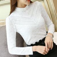 蕾丝打底衫女长袖秋冬新款女装修身蕾丝衫雪纺衫内搭