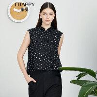 【2件5折】【5.2上新】ihappy/海贝小清新波点衬衫