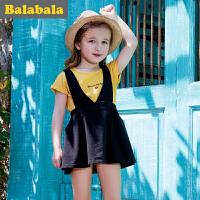 巴拉巴拉儿童纯棉短袖套装女2017夏新款女中大童童装两件套背带裙
