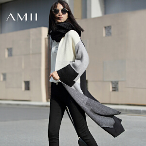 【AMII超级大牌日】[极简主义]2017年春新款时尚落肩袖中长毛衣女开衫外套11612442