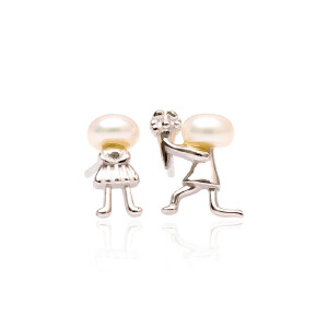 芭法娜 求婚耳钉 银镶淡水珍珠时尚耳钉