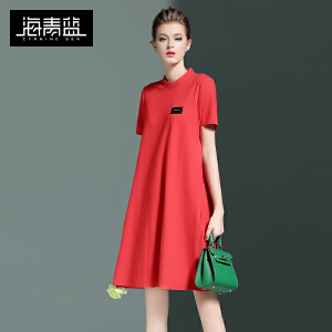 海青蓝2017春季新款纯色短袖立领宽松大码时尚欧美女装连衣裙6143