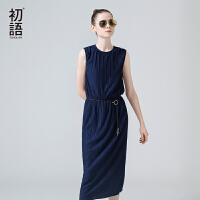 初语初语夏季新款 过膝无袖松紧腰绉纱薄连衣裙
