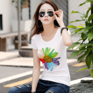 2017夏季镶钻短袖T恤女韩版修身棉质体恤衫女装上衣半袖打底衫