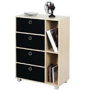 [当当自营]慧乐家 六格多功能带抽收纳柜11159 木纹色 层柜 书柜书架 柜子