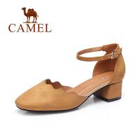 Camel/骆驼女鞋 2017春夏新款猫跟鞋 欧美风时尚气质一字扣带圆头单鞋
