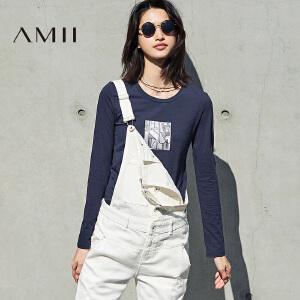 Amii[极简主义]2017春新款大码休闲圆领时尚印花丝光棉T恤女长袖