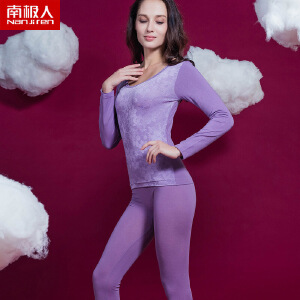 南极人 保暖内衣紧身大领保暖内衣女上衣套装薄款塑身大圆领塑身衣