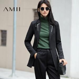 【AMII超级大牌日】[极简主义]2017年春新款修身显瘦中长款西装女外套上衣11672917