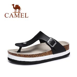 Camel/骆驼女鞋 2017夏季新款 休闲清凉女拖鞋 简约厚底人字拖