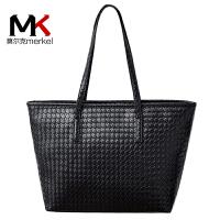 莫尔克(MERKEL)新款女包编织包斜跨单肩包韩版菱格包拼接女士手提托特大包