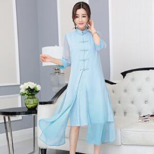 【当当年中庆】2017夏新款女装复古棉麻中国风改良旗袍假两件连衣裙