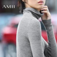 【AMII超级大牌日】[极简主义]2016秋冬新品纯羊毛修身高领套头薄款打底毛衣女装