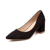 O'SHELL欧希尔春季上新008-1501韩版磨砂绒面粗跟高跟尖头女士单鞋
