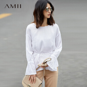 Amii[极简主义]2017春新品宽松落肩镂空绑带喇叭袖雪纺衫11780411