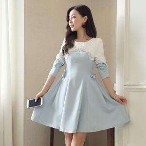 夏装新款圆领海军风短袖上衣+欧根纱蓬蓬裙套装