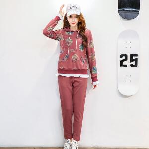 香衣宠儿 2017春季新款休闲运动套装女 长袖套头卫衣 跑步服运动服两件套套装女2529-806