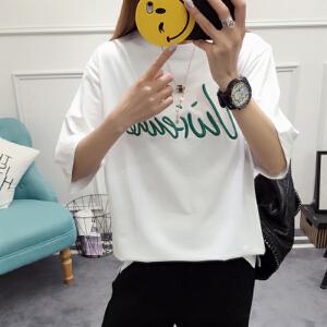 2017 新款韩版潮宽松学生T恤女装字母刺绣个性拼接