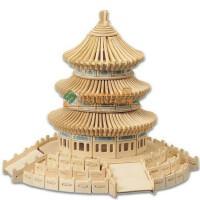 正品四联玩具儿童益智玩具3D木质拼图拼插立体北京名筑天坛模型