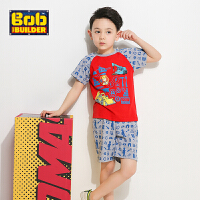 【200-130】BOB工程师夏季新品套装男童卡通纯棉印花T恤短袖+短裤两件套