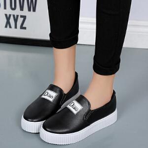 春季新款时尚百搭厚底单鞋女潮鞋学生休闲鞋拼色套脚增高运动板鞋