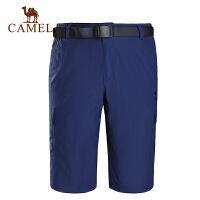camel骆驼户外男款速干中裤 透气耐磨快干速干舒适男中裤