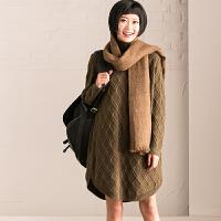 M521A 通勤文艺加厚菱格螺纹羊毛套头中长款毛衣女【米可可】