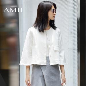 【AMII超级大牌日】[极简主义]2017年春季宽松喇叭袖纯棉流苏短款外套女士11672895