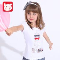 小猪班纳童装女童短袖T恤2017夏装儿童半袖上衣女中大童休闲体恤