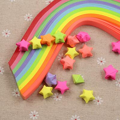 【智星宝教育文具】智星宝荧光彩色星星条 学生折纸