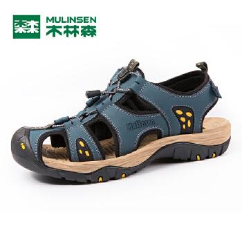 木林森男凉鞋 2016新款凉鞋 夏季真皮男士凉鞋 牛皮舒适沙滩鞋SM67706