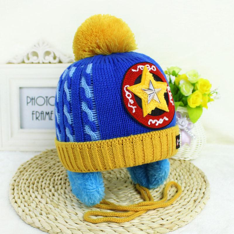 婴儿鞋帽袜 韩版加绒护耳针织帽秋冬季儿童帽子婴幼儿可爱宝宝毛线帽
