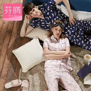 芬腾新款2017情侣睡衣夏季短袖长袖女开衫韩版梭织棉男家居服套装
