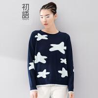 初语 女装新款 北欧童话星星撞色图案纯棉针织衫女毛衣女款韩版打底衫8540423913